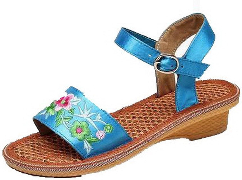 WeenFashion Women's Buckle Low-Heels Fabric Assorted color Sandals, CA18LB05052
