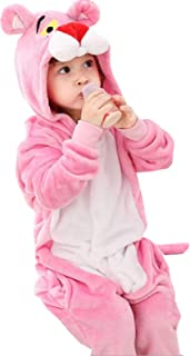 Winter Fall Girls Boys Kids Plush One Piece Pink Panther Home Dress Hoodies