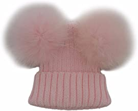 Baby Boys Girls Cable Knit Hat Beanie Raccoon Fur Double Big Ball Pompom Bobble Ski Cap for Toddler