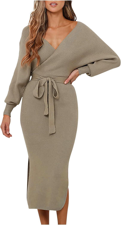 Bobono Professional Dresses for Women for Work Fall Trendy Long Sleeve Sexy V-Neck Bandage Slit Slim Fit Wrap Midi Dress