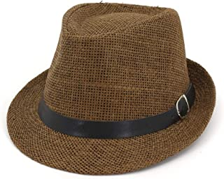 SXQ Jazz Hat 2019 Male Female UV Protective Straw Hat Outdoor Travelling Straw Hat with Leather Belt Solid Color Fashionable Sunproof Sun Hat (Color : Coffee, Size : 56-58CM)