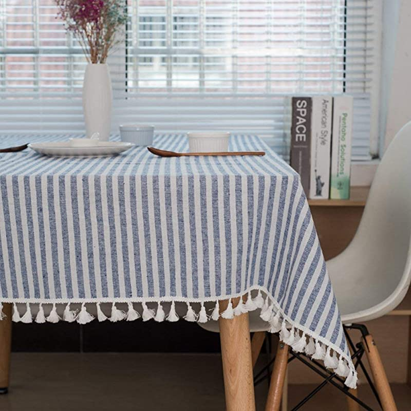 Meiosuns Tablecloth Striped Fringe Table Cloth Rectangular Tablecloths Cotton Linen Table Cover Suitable For Home Kitchen Decoration Various Sizes Blue White Stripes 55 X 86