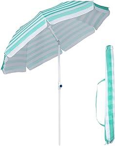 Sekey Φ2m - Ombrellone Parasole da Giardino, Rotondo, Protezione Solare UV25+, con Custodia Protettiva, Strisce Blu