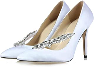 Surprise S Sweet Women Crystal Wheatear Silk Pumps Bling Rhinestone Pointed Toe Stiletto High Heels Wedding Bridal Shoes