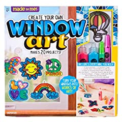 🌈DESIGN 20 WINDOW ART CREATIONS: Make your windows pop with 20 whimsical window art creations! Color 12 suncatcher shapes and create custom transfers with vibrant suncatcher paints! 👏PUT ON DISPLAY: Use the included cording to hang your suncatchers o...