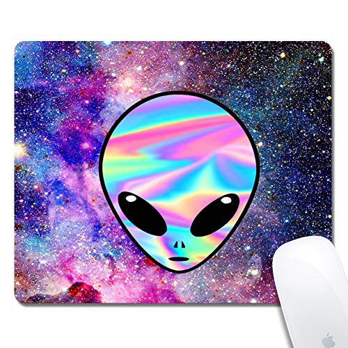 Mouse Pad with Stitched Edges,Pig Customized Design Extended Gaming Mouse Pad Anti-Slip Rubber Base Ergonomic Mouse Pad for Computer -Black Rectangle 240x200x3mm (Alien Galaxies)