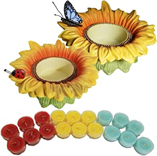 ShoppeShare Sunflower Buddies Tealight Holder Decoration and Candles Bundle - Retired Partylite