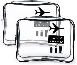 O-Kinee Neceser Transparente, Kit Viaje Avion, Transporte de Líquidos en Avión, Bolsa Aseo Claro, Bolsa de Cosméticos Impermeable para Hombre y Mujer Negro