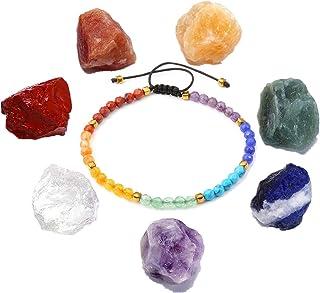 QGEM Joyas de 7 chakras curativas, piedras preciosas sin formal, Feng Shui, Reiki, terapia energética, yoga, decoración, p...