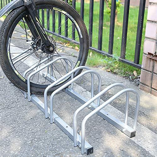HENGDA Fahrradständer, Für 3 Fahrräder, verzinkt Stahl, Boden- und Wandmontage, Fahrradhalter Radständer, LBH: ca. 70.5 x 32 x 26 cm, Silber
