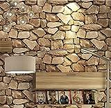 H&M Fondo de Pantalla H&M Papel Pintado PVC Retro 3D estéreo imitación Piedra Textura Papel Pintado decoración Dormitorio TV Pared salón Papel Tapiz -53 cm (W) * 10 m (L), Yellow