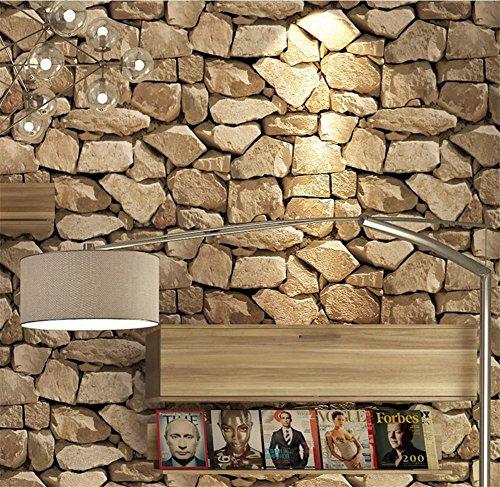 H&M Tapete PVC Retro 3D Stereo Imitation Stein Textur Tapete Dekoration Schlafzimmer TV Wand Wohnzimmer Tapete -53 cm (W) * 10 m (L), Yellow