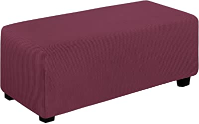 Easy-Going Stretch Ottoman Cover Folding Storage Stool Furniture Protector Soft Rectangle slipcover with Elastic Bottom(Ottoman X-Large,ASH Rose)