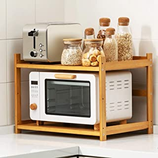 Étagère de cuisine, support de four à micro-ondes en bambou naturel, boîtes ou bouteilles d'assaisonnement de magasin orga...