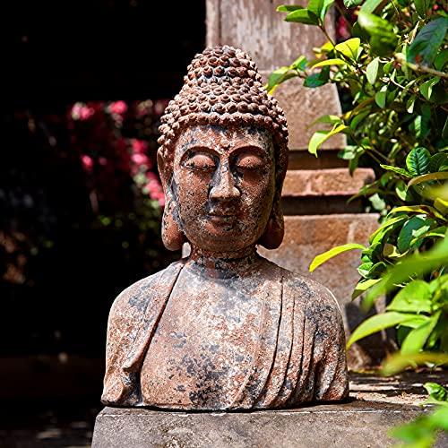 Buddha Statue for Home, Meditating Buddha Bust Statues, Rustic Spiritual Buddha Head Statue, Naturel Antique Bronze Rust Finish, 16.2' H Magnesia (Magnesia)