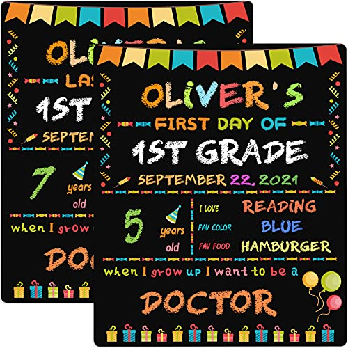 First Day of School Chalkboard, First Day of School Sign Photo Prop, My 1st Day Back to School Sign & Last Day to School,Reusable Erasable 12x10 inch, Double Sided Photo Prop for Kids, Girls & Boys