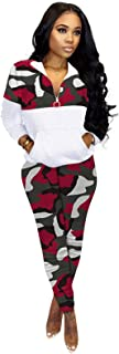 Women's Sweatsuit, 2 Piece Outfits Tracksuit for Women Zip Up Hoodie Jogging Sweatsuit Workout Sets,Red,XXXXL
