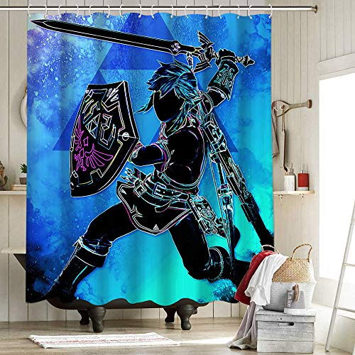 The Legend Of Zelda Breath Of The Wild Cloth Shower Curtain Polyester Fabric Shower Curtain Set Heroic Soul Of Heroes Soul Of The Wild 72X72 Inch