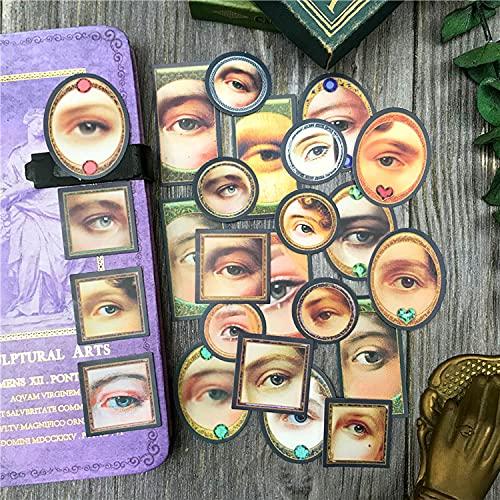 LSPLSP Vintage pintura al óleo ojo Tn mano cuenta material impermeable monopatín ordenador teléfono decoración etiqueta 23 unids