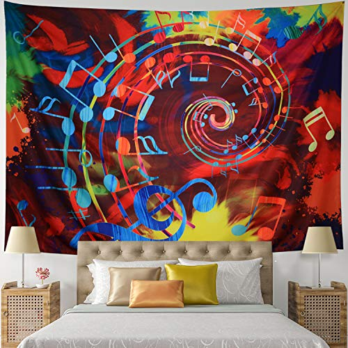 Leofanger Music Tapestry Wall Hanging Music Note Decor Tapestry Wall Tapestry Hippie Colorful Psychedelic Bohemian Mandala Tapestry Bedroom Home Dorm Decor (Small-59.1'x51.2', Musical Note)