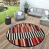 Paco Home In- & Outdoor Teppich Modern Boho Muster Terrassen Teppich Wetterfest Bunt, Grösse:Ø 160 cm Rund