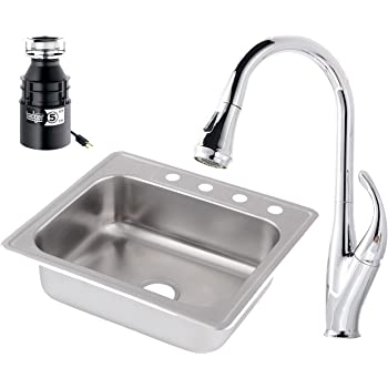Westbrass S2548b 26 Stainless Steel Single Bowl Kitchen Sink Set Includes Faucet In Polished Chrome Badger 5 Garbage Disposal 25 Polished Chrome Amazon Com