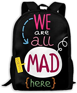 Custom Alice We are All Mad Here Casual Backpack School Bag Travel Daypack Gift