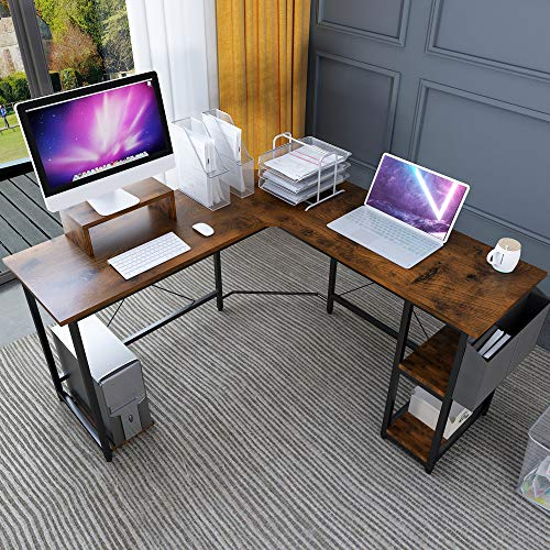 Magic Life L-Shaped Desk Corner Desk, 56 Inch Corner Computer Desk with wood Monitor Stand Riser and CPU Stand,Gaming Table with Storage Bag