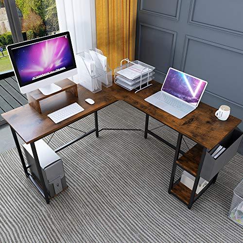 Magic Life L-Shaped Desk Corner Desk, 56 Inch Corner Computer Desk with wood Monitor Stand Riser and...