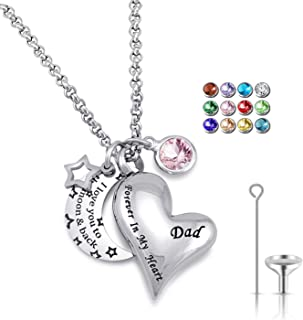 YOUFENG Urn Necklaces for Ashes I Love You to The Moon and Back for Dad Cremation Urn Locket Birthstone Jewelry