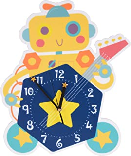 YOAIYOJIA Robot Wall Clock,Cute Kids Learning Clock,Silent Wall Clock with Battery Operated for Bedroom Playroom Living Ro...