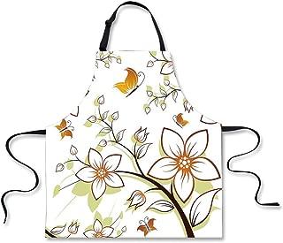 Cooking Apron,Autumn,Fauna in Fall Season Color Palette Flowers and Butterflies Warm Image Decorative,Orange Pale Green Black,3D Print Apron.29.5