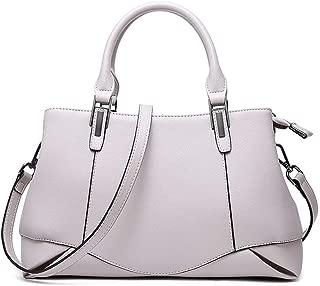 Fashion Women's Solid Color Genuine Leather Handbag Fashion Cowhide Messenger Bag Ladies Shoulder Bag Crossbody Bag (Color : Gray)