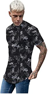 POQOQ T-Shirt Top Men Casual Fashion O-Neck Short Sleeve Patchwork Gradient