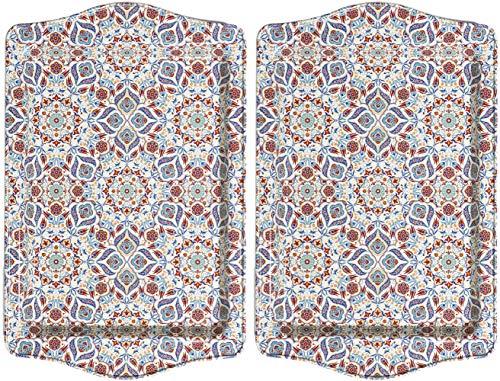 BOHORIA® Premium Design Serviertablett - Dekorative Servierplatten für Glas, Tassen, Schälchen auf ihrem Holz-, Glas- oder Stein-Esstisch (Marrakech 2er Set)