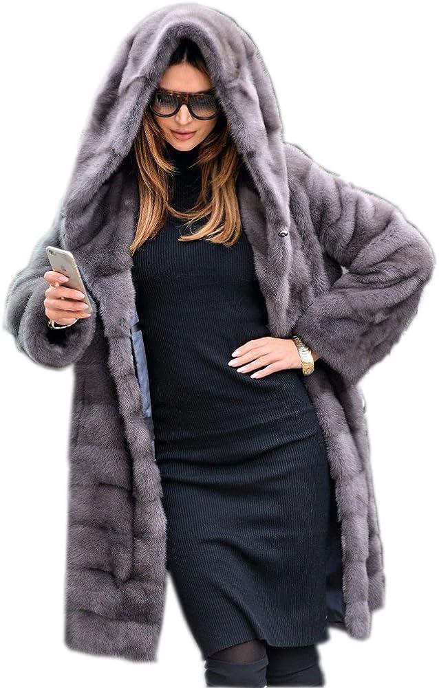 Aox Women Winter Coat Fluffy Faux Fur Hood Warm Thicken Casual Outdoor Jacket Anorak Plus Size