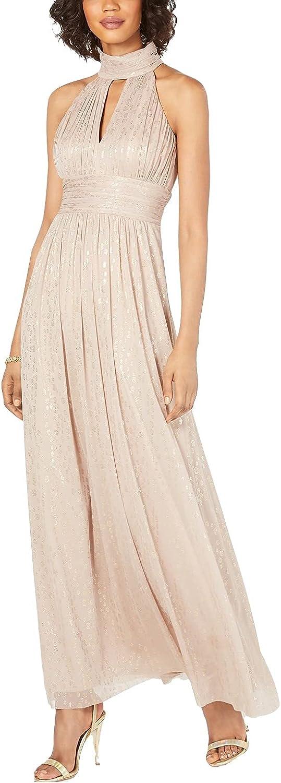 Jessica Howard Women's Metallic Leopard-Print Halter Gown