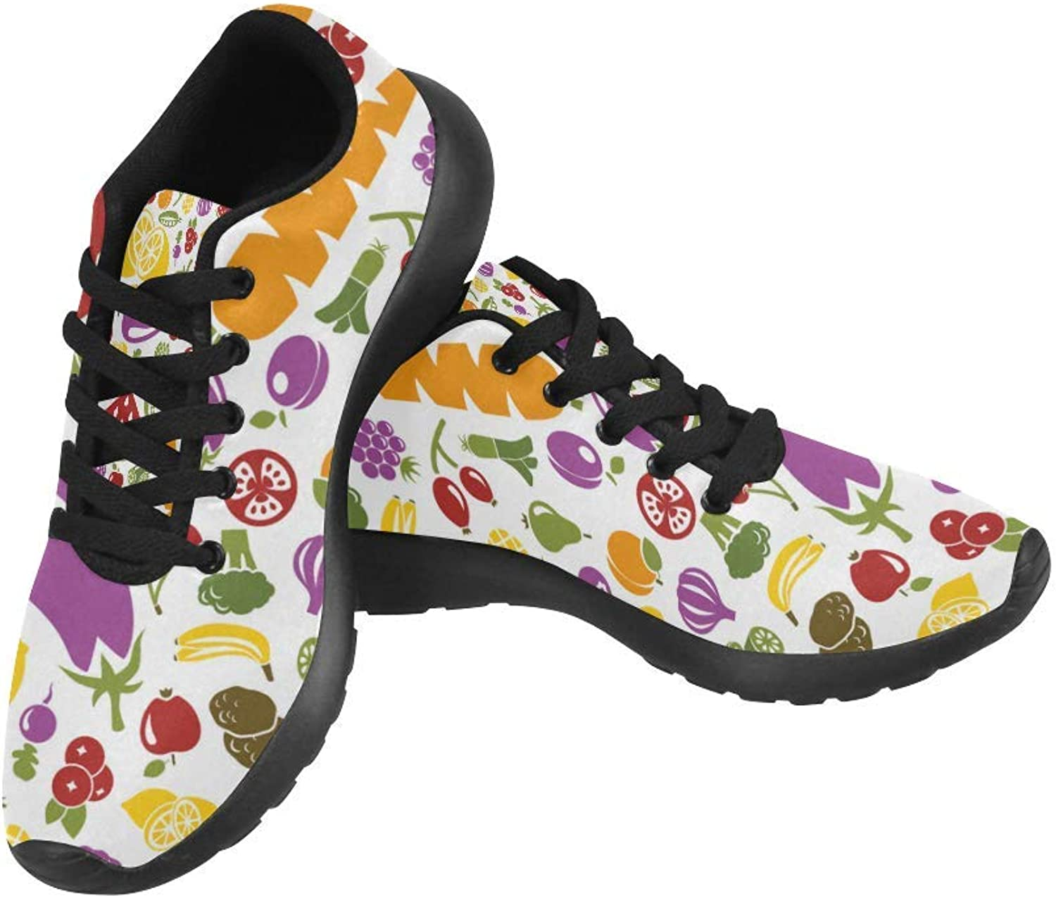 InterestPrint colorful Fruits and Vegetable Print on Women's Running shoes Casual Lightweight Athletic Sneakers US Size 6-15