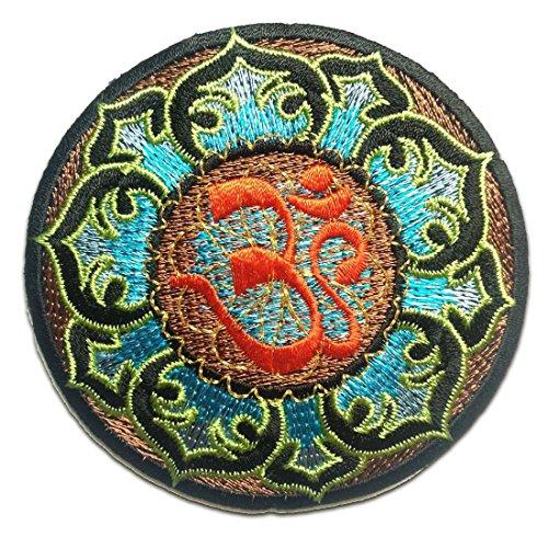 Aufnäher / Bügelbild - Lotus Om Symbol spirituell Hindu Meditation - mehrere Farben auswählbar - Ø8,4 cm - by catch-the-patch® Patch Aufbügler Applikationen zum aufbügeln Applikation Patches Flicken, Farbe:blau