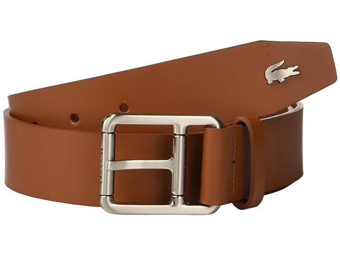 Lacoste Buckle Belt w/ Croc Detailing (White/Patisson/Woodpecker) Men