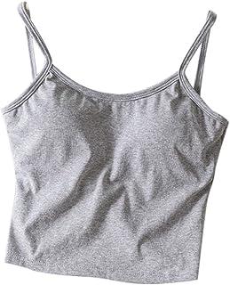 Carcos Donna Canotta Svasata con Reggiseno Integrato Spalline Regolabili Camicia Senza Maniche Camisola Swing Camisole
