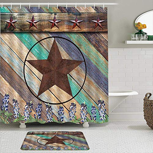 VAMIX 2Pcs Shower Curtain Set with Bath Mat,Texas Star with Bluebonnet Spring Wild Lupins Rustic Planks Decor Western Barn,Brown,Waterproof Bathroom Non-Slip Rug 12 Hooks Included