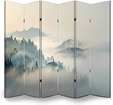 APED DECOR Wood Screen Room Divider The Morning Mist Folding Screen Canvas Privacy Partition Panels Dual-Sided Wall Divider I