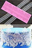Silicone Lace, KOOTIPS Novelty Giant Lace Silicone Mold Sugarcraft Wedding Cake Decor Tools Impression Gum Pastry Tool Kitchen Tool Sugar Paste Baking Mould Cookie Pastry (Rose lace)