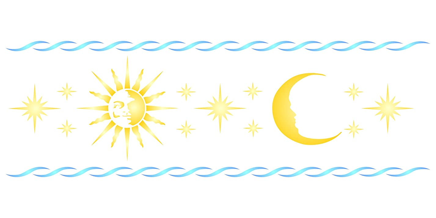 """Celestial Border Stencil - (size 20""""w x 6.5""""h) Reusable Wall Stencils for Painting - Best Quality Sun Moon Border Ideas - Use on Walls, Floors, Fabrics, Glass, Wood, and More… xn80491820"""