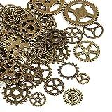 Naler 80 piezas de engranajes antiguos ruedas esqueleto Steampunk colgante encantos reloj engranajes ruedas para bricolaje manualidades, joyería, cosplay accesorios de disfraces bronce