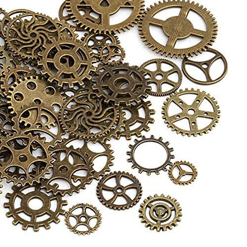 Naler 80 piezas de engranajes antiguos ruedas esqueleto Steampunk colgante encantos reloj...
