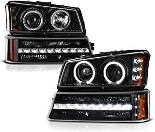 VIPMOTOZ Black LED Halo Ring Projector Headlight + LED Strip Front Bumper Parking Turn Signal Lamp Housing Assembly Replacement For 2003-2006 Chevy Avalanche Silverado 1500 2500 3500