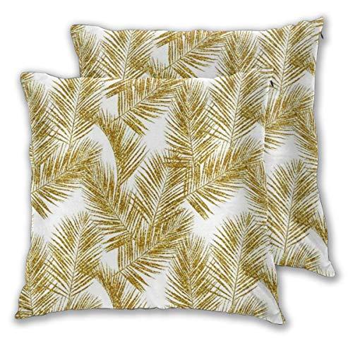 Foglie di palma glitterate Silhuettes bianche Finto oro imitazione Foresta tropicale Sfondo bianco Fodere per cuscini quadrati per divano Divano letto Fodere per cuscini decorativi per auto Federe Con