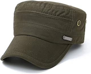 UAOOK Elegant Vintage 100%Cotton Military Washed Baseball Cap Army Plain Flat Cadet Mature Chapeau Painters Sailors Fiddle...